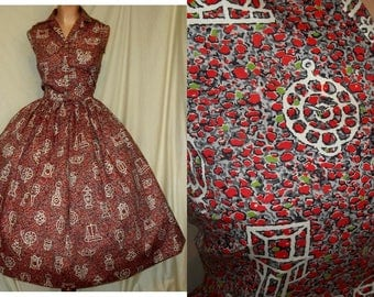 Very Cool 1950s Mid-Century 1950s Vintage Red, Gray, Black and Lime Green Graphic Novelty Stone Print Dress w/Silhouettes...Waist-29 Bust-36
