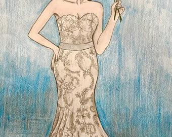 Custom bridal drawing 6