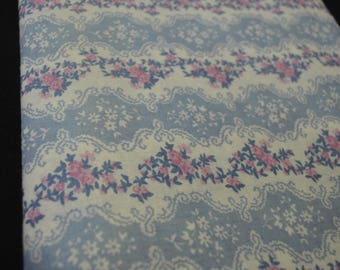 Vintage Blue and Rose Fabric