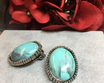 Vintage Faux Turquoise Silver Tone Clip-on Earrings
