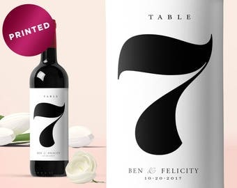 PRINTED Wedding Table Numbers Wine Bottle, Wedding Wine Bottle Table Numbers, Wine Table Number Label, Wine Bottle Number, Custom Wine Label