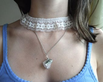 Genuine Geode On A Multi Strand Chain Necklace and Lace Trim Choker
