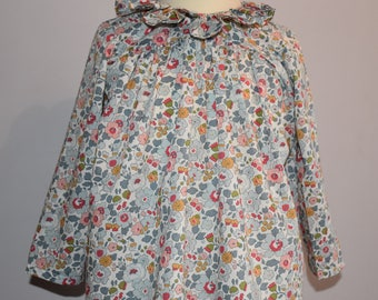 Blouse / tunic with long sleeves and frill collar - liberty Betsy porcelain
