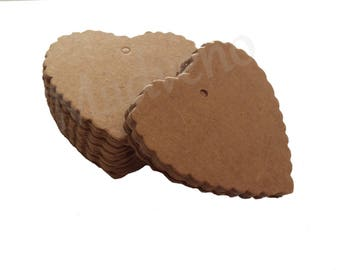Set of 10 cardboard Brown heart shape