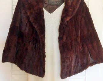 Vintage Dark Brown Fur Cape