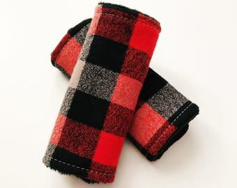 Flannel Plaid Car Seat Strap Covers, Red Black and Gray, Minky Car Seat Strap Covers