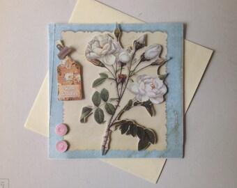 Handmade card, 3D, happy birthday card, flowers, birthday card, flowers