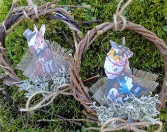 "Pair of small crowns Easter hanging ""charming bunnies"""