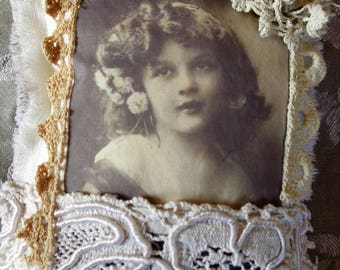 Pillow of door shabby chic lace antique and retro photo