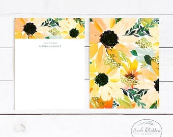 PERSONALIZED FLORAL NOTECARDS, Monogram Notecards, Gift Idea, Gift for Her, Business Stationery, Floral Stationery, Personalized Stationery