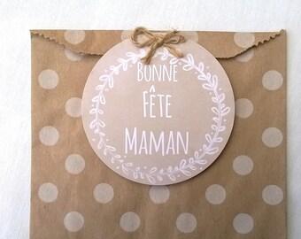 Polka dot kraft bag, mothers day