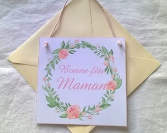 Mother's Day card flower Crown with pink Interior