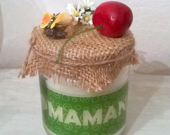 Candle gift celebrating mothers cherry and rustic theme