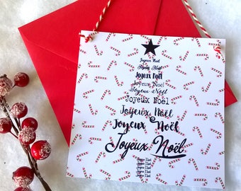 Card hanging Christmas tree with red envelope
