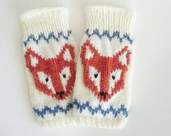 Knitted Fingerless Fox Gloves - Gloves, Mittens, Wrist Warmers, Gift Ideas, For Her, Winter Accessories