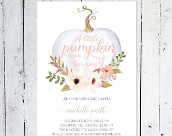 Baby Shower Invitation Girl, Pumpkin Baby Shower Invitation, Girl, Fall, Pink, White, Little Pumpkin, Floral, Printable, Printed
