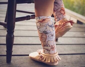 Floral knee high socks, knee highs, baby knee socks, knee high socks, floral socks, baby leg warmers,