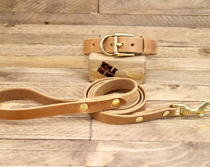 Collar and leash set, Dog collar, Leather leash, Brass hardware, Whiskey, FREE ID TAG, Handmade leather collar, Dog leash, Dog collars.