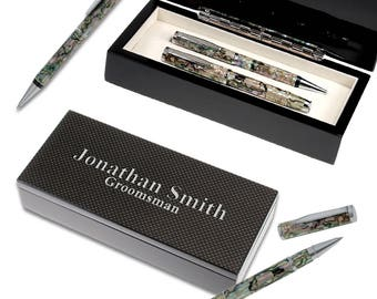 Personalized Mother of Pearl & Abalone Shell Pen Gift Set - Personalized Carbon Fiber Twin Pen Set - Luxury Desk Twin Pen Set