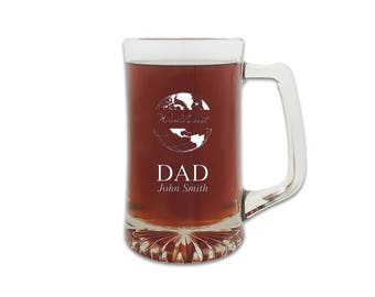 World's Best Dad 25 Ounce Sports Mug Glass - Personalized Beer Tankard for Dad - Customized Beer Mug - Father's Day Gift Idea - Ale Glass