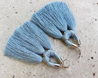 Tassel Earrings / Large Fringe Earrings / Blue Gray Drop Earrings / Boho Earrings / Statement Earrings / Tribal Earrings / Rope Earrrings