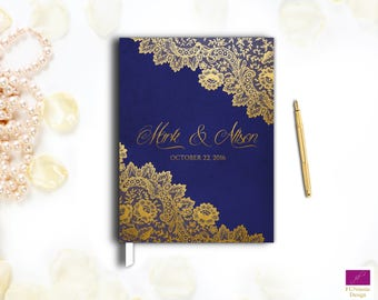 Elegant Wedding Guest Book, Lace Wedding Guestbook, Hardcover Guestbook, Gold Wedding Guestbook, Gold and Purple guest book,custom guestbook