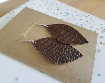 """Handmade Leather Earrings - Dark Brown - Reptile Print - 3"""" x 1.75"""""""