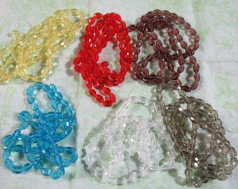 6x4mm Faceted  Glass Oval Bead Strand (B215a)