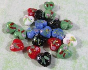 20 Handmade Lampwork Glass Heart Beads 16mm (B414d)