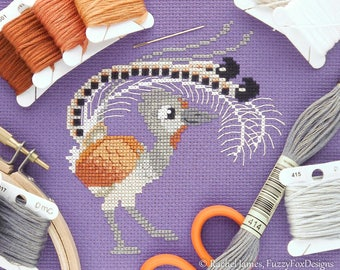Lovable Lyrebird Cross Stitch Pattern PDF | Cute Little Bird | Easy | Modern | Beginners Counted Cross Stitch | Instant Download
