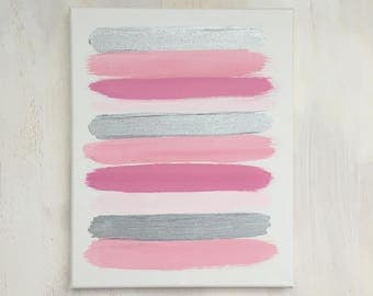 Pink and Silver Stripe Abstract Canvas