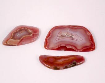 Trio of Agate Cabochons, with druzy