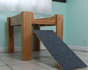Oak Wood Raised Dog Bed, Elevated Dog Bed Furniture with Ramp, Dog Ramp, Dog Bed Platform