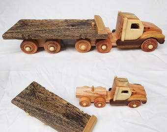 "Wooden toy for kid - Tractor unit - 14"" x 4"" x 4"""