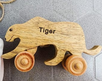 "Wooden toy for kid - Baby toy Tiger - 3"" x 7"""