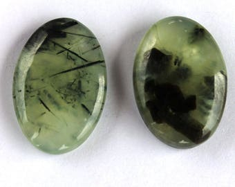 2PCS Green Prehnite Stone,87.7 CTS 32x21x6 MM Prehnite Mountain cabochon,AAA+ Natural Top Qualiity for Pendants,Rings, Jewelry Supplies