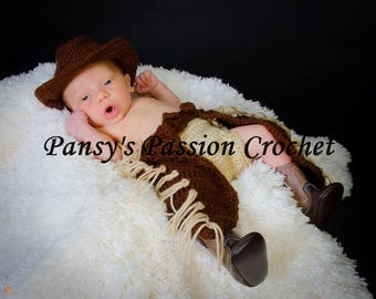 CHAPS & COWBOY HAT for Newborn 0-3 months - Crochet Pattern