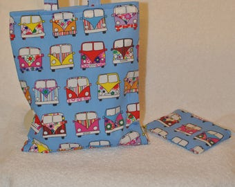 Campervan childrens fabric tote bag and coin purse.