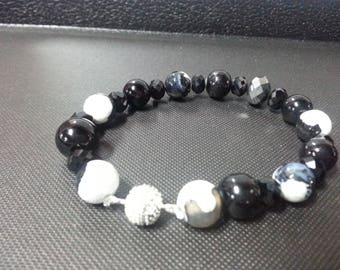 C & C Black Agate and Marble Bracelet