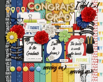For the Grad- Digital Scrapbooking Kit - 18 Papers - 60 Plus Elements - Paper Size - 12 x 12 Inches