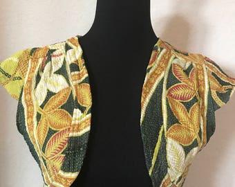 Women's large yellow floral vest/shrug