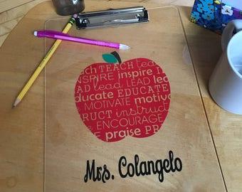 Teacher Gift, Personalized Teacher Gift, Personalized Apple Teacher Clipboard, Teacher Appreciation Gift, Teacher Christmas Gift