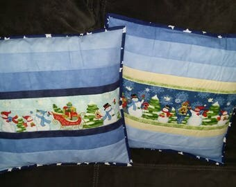 "Pillowcase ""blue christmas"", cushion cover, pillowslip"