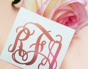 Rose Gold Monogram Decal | Rose Gold Name Decal | Rose Gold Custom Decal | Metallic Decal | Car Decal | Yeti Decal | Phone Decal