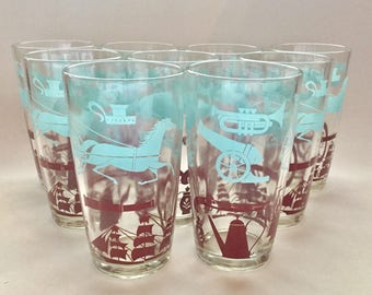 Colonial Drinking Glasses 1970's Vintage - Set of 9