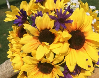 Rustic Sunflower Bouquet, Country Sunflower Bouquet, Sunflower Bouquet, Sunflower Purple Bouquet, Bridal Sunflower Bouquet, Yellow Bouquet