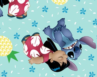"Lilo and Stitch Ohana means family by Springs Creative fabric, By the Half Yard, 43"" wide, 100% cotton - cartoon fabric - disney fabric"