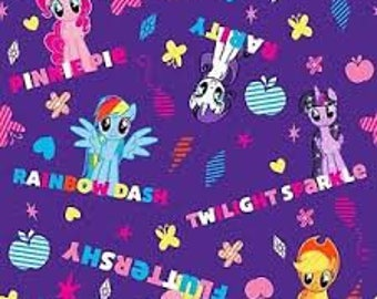 "My Little Pony Ponies and Names by Springs Creative, 43-44"" wide, 100% cotton, by the half yard"