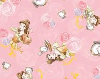 "Beauty and the Beast on pink flannel fabric, By the Half Yard, 45"" wide, 100% cotton"