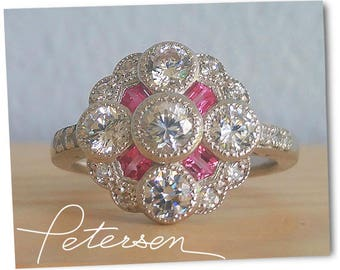 Pink sapphire Art Deco Ring - Art Deco Jewelery / 1920's jewelery / pink sapphire ring diamond ring vintage ring neo victorian antique ring